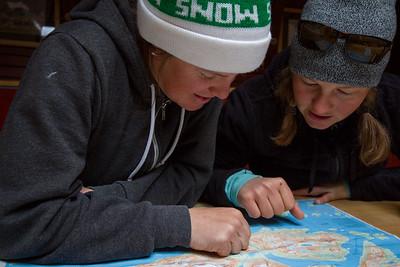 Meghan Kelly & Pip Hunt discuss potential ski optoins in remote terrain in Greenland.