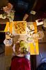 Caroline Gleich & Kt Miller enjoy crepes at a cafe in Chamonix