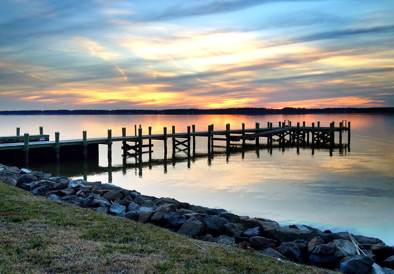 "Sunset at Chaptico Wharf on Wicomico River <I><span class=""nonNative"">(iPhone photo)</span></I> Maddox, MD"