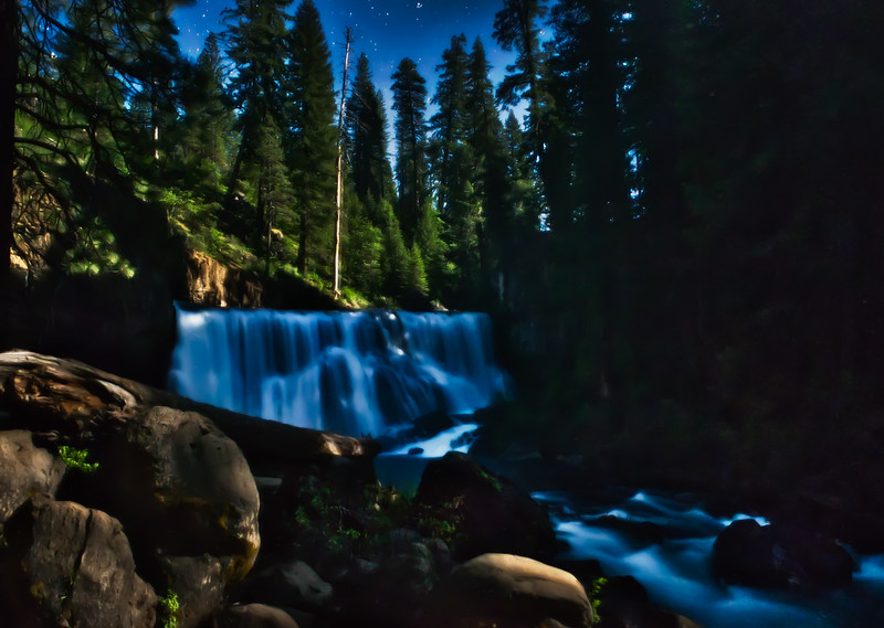 Middle McCloud Falls in the moonlight