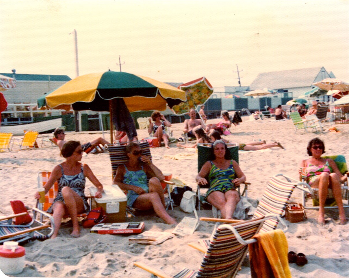 Sandlass Beach Club, Sea Bright, circa 1970 Mrs Maureen Enander, Mrs Grauss, Jill Brenner, Mrs. Joan Waldron circa 1970
