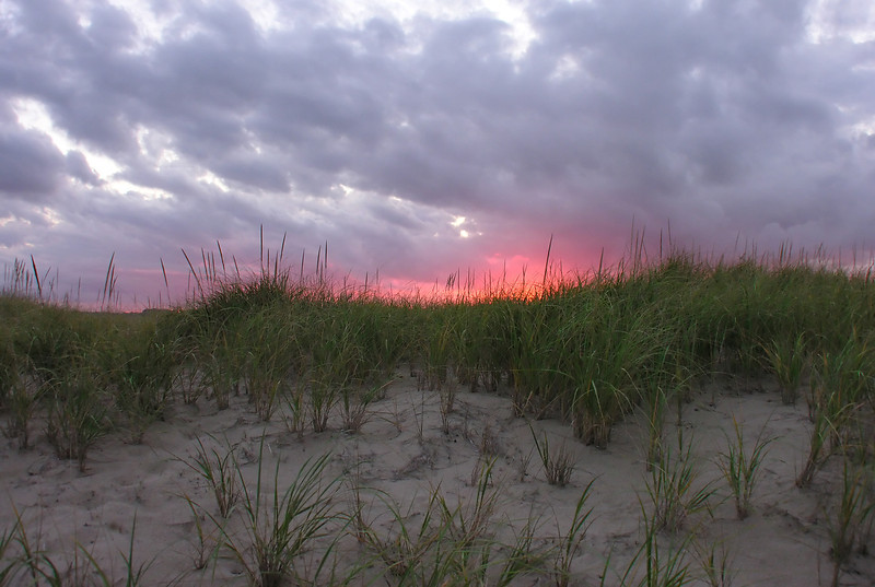 Sunset behind dune<br /> Cape Cod National Seashore, Eastham, Cape Cod, MA