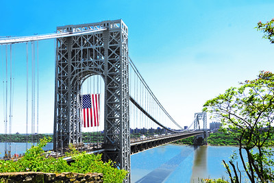 George Washington Bridge Flag Scene