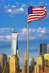American Flag and One World Trade Center