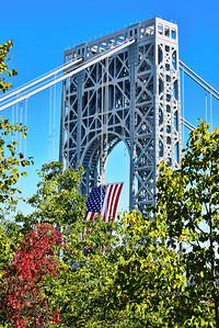 GW Bridge American Flag Autumn View