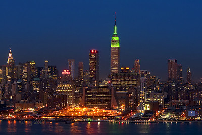 New York Skyline on Saint Patricks' Day