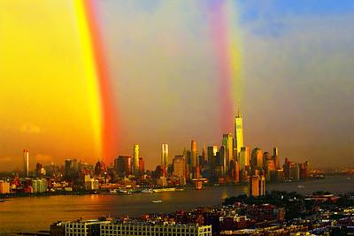 Sundown Double Rainbow over NY and NJ