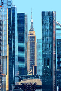 NYC Midtown Towers in Hazy Day Blues