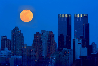 Full Snow Moon over Manhattan