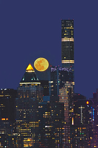 NYC Skyscrapers and Full Moon