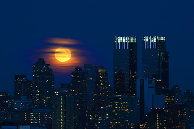 NYC Snow Moon Rising
