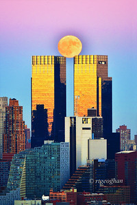 NYC Moonrise at Sunset