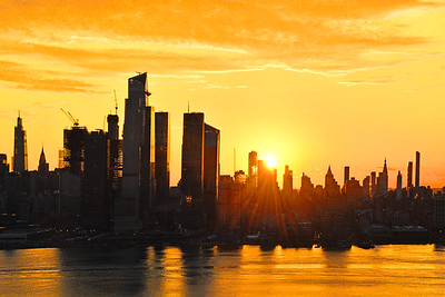 Manhattan Golden Sunrise Skies