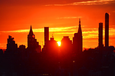 NYC Sunrise in Orange and Yellow