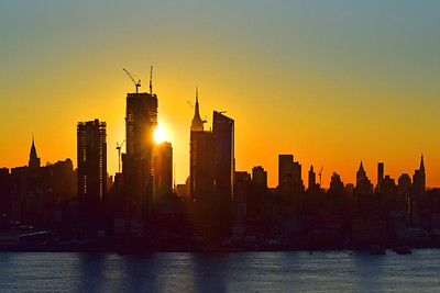 NYC Golden Sunrise Silhouette