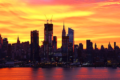 NY Skyline Autumn Hued Sunrise