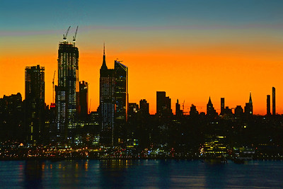 NYC Dawn Skies in Orange and Teal