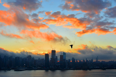 NYC Sunrise and Dark Clouds