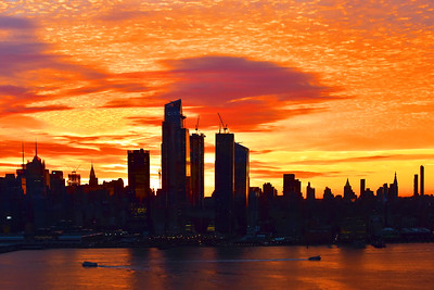 New York City at Sunrise in Orange and Gold