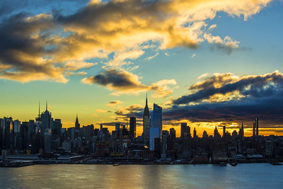 NYC Sunrise Gold Meets Blue