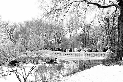 Centraql Park Bow Bridge Snow Scene