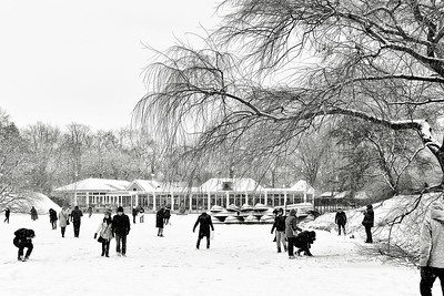 Central Park Lake and Boathouse Snowscape