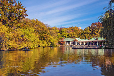 Central Park Lake and Boathouse Autumn