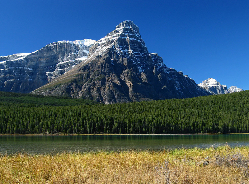 Mount Chephren behind Upper Waterfowl Lake<br /> Banff National Park, Alberta, Canada