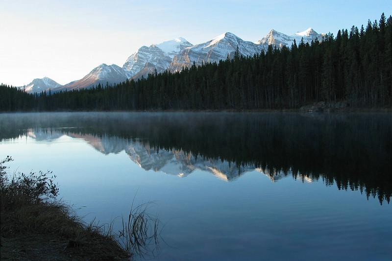 Herbert Lake reflecting Waputik Range at dawn<br /> Banff National Park, Alberta, Canada