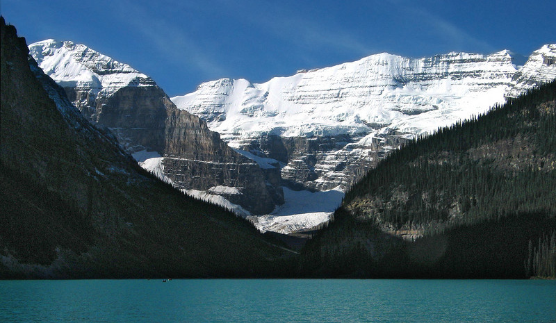 Mount Victoria glacier at Lake Louise<br /> Banff National Park, Alberta, Canada