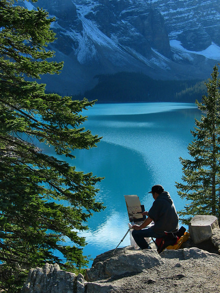 Artist at Moraine Lake<br /> Banff National Park, Alberta, Canada