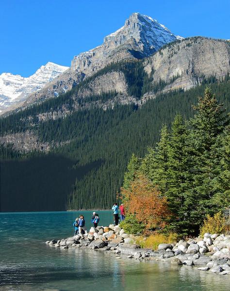 Family frolic at Lake Louise<br /> Banff National Park, Alberta, Canada