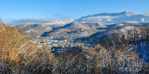 Snowy Gatlinburg Panorama