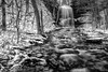 Winter Waterfall in Black and White, Jackson Falls, Prince Edward County, January 28,2017,Canon 6D, .8 sec, F16, ISO 50