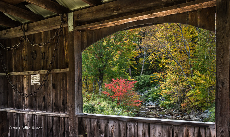 View from Inside covered bridge, Highway 108 Vermont, Oct 01 2013, #8632,Canon 6D-.4 sec F11-ISO50-LR5