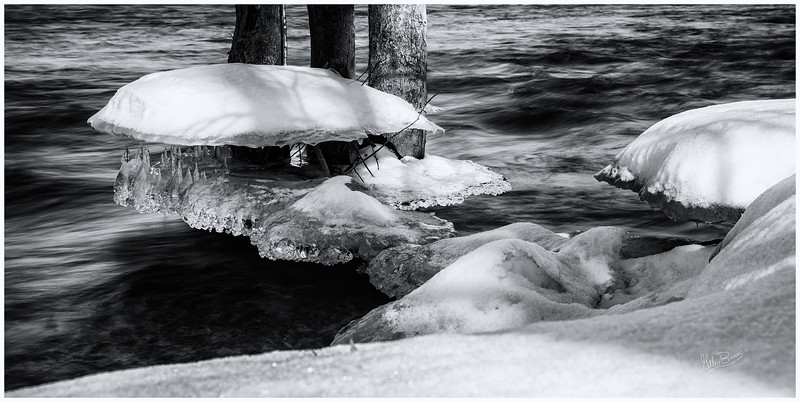 Black & White ice formation, Trent River at Healey Falls, February 16, 2019, Canon EOS R, 24-105mm, .8 sec sec, F16, ISO 50