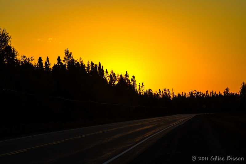 Sunrise over Highway 17 west of Sault Ste Marie, October 6 2011