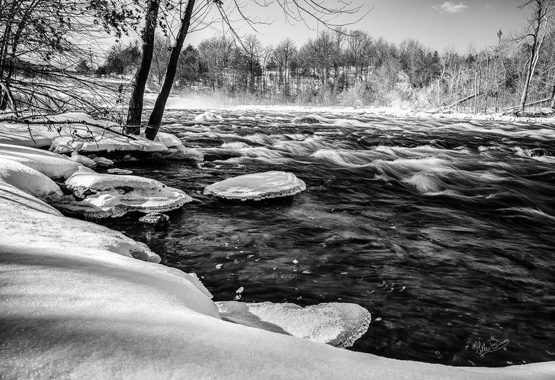 Trent River at Healey Falls, February 16, 2019, Canon EOS R, 24-105mm, .4 sec sec, F14, ISO 50