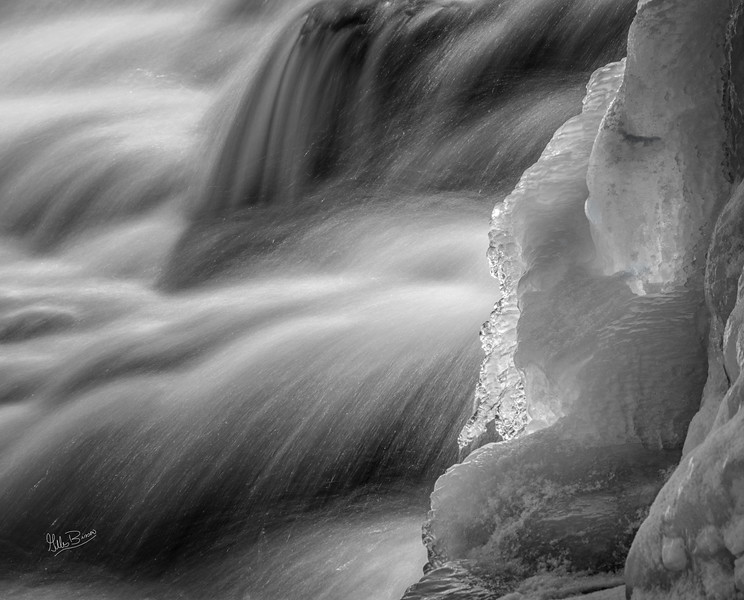 Black & White , fast water - waterfall,  Trent River at Healey Falls, February 16, 2019, Canon EOS R, 24-105mm, 3.2 sec, F11, ISO 50