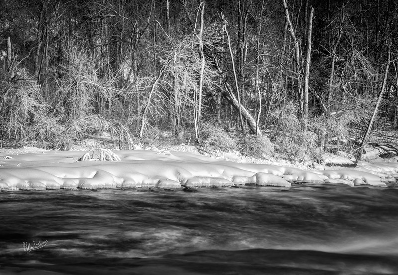 Black & White winterscape, Trent River at Healey Falls, February 16, 2019, Canon EOS R, 24-105mm, 4.0 sec, F14, ISO 50