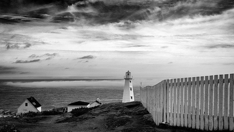 Cape Spear Lighthouse in Black and White, Cape Spear, Newfoundland, August 23, 2019, Canon EOS R, 1/160, F14, ISO 160