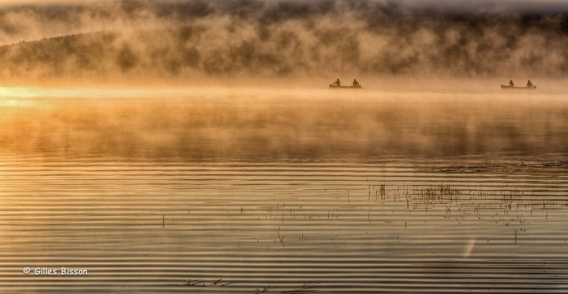 Early morning canoes on Lake of Two Rivers, Algonquin Park, Sept 27 2014, Canon 6D,1/40sec,F13,ISO50
