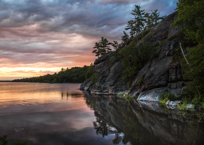 Sunset on the French River, Northern Ontario, July 15, 2017, Canon 6D, 1/3sec, F14, ISO 50