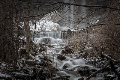 At the base of the Cape Vesey Waterfall, Waupoos, Prince Edward County,  January 28, 2017, Canon 6D, .8 sec, F14, ISO 50