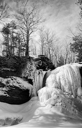 Winter at Jackson Falls in Black and White, Prince Edward County, March 3, 2019, Canon EOS R, 24-105mm, .6 sec, F14, ISO 125
