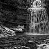 Waterfall in Black and White, Jackson Falls, Prince Edward County, January 28,2017,Canon 6D, 1/13 sec, F9, ISO 50