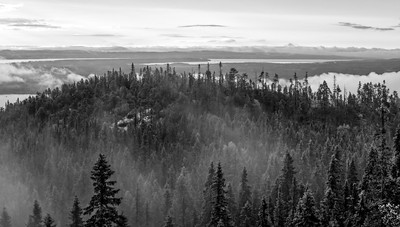 Black and white view from the top of Hoverberget mountain, Jamtland, Northern Sweden, July 29, 2017, Canon 6D, 1/40, F 11.0, ISO 50
