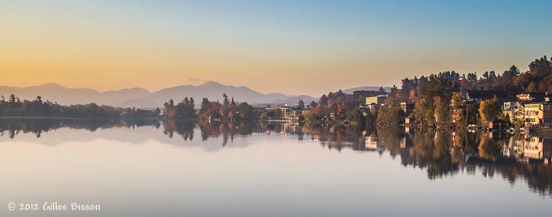 Sunrise over Mirror Lake, Lake Pacid New York, October 05 2012