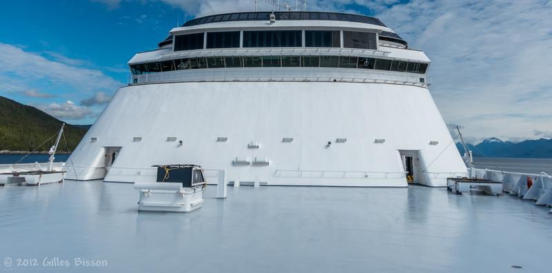 Front deck of  Volendam Cruise Ship, Alaska, June 26 2012