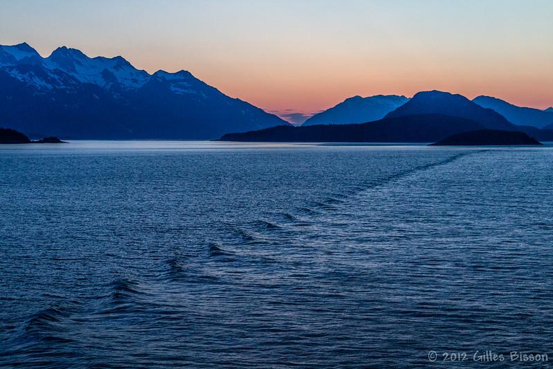 Sunset scene from Volendam Cruise Ship, Alaska, June 23 2012